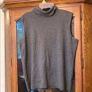 Talbot's Gray Sleeveless Turtleneck Sweater 2X